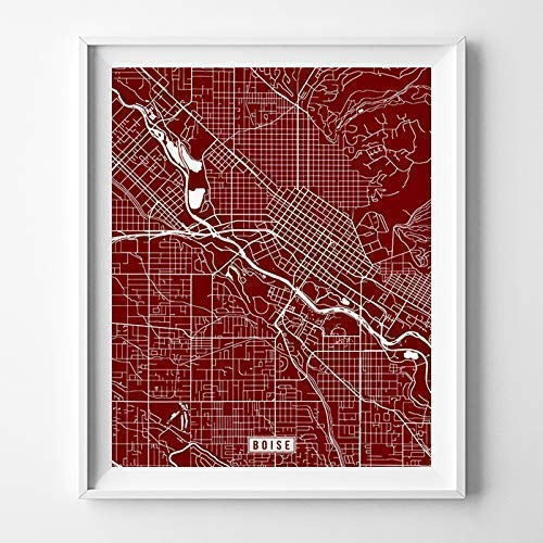 Boise Idaho City Street Map Wall Art Home Decor Poster Urban City Hometown Road Print - 70 Color Choices - Unframed