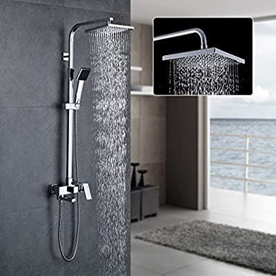 AURALUM Height Adjustable Thermostatic Rainfall Shower Set Anti Scald Device Faucet with 8 Inch Shower Head and Handle Showerhead and shower Arm and 59 Inch Hose , Chrome by AURALUM