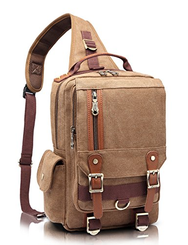 KAUKKO Stylish Canvas Leather Cross Body Messenger Bag Shoulder Bags Rucksack Khaki by KAUKKO