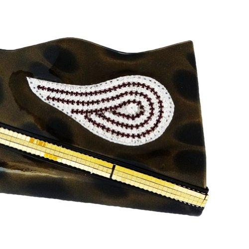 Diamantes De Imitación De Paisley Embrague Nupcial Del Monedero De Cuero De Imitación De Las Mujeres Bolso De Totalizadores Del Medio oro metálico
