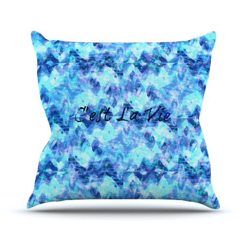 "Kess InHouse Ebi Emporium ""C'est La Vie Revisited"" Blue Aqua Outdoor Throw Pillow, 26 by 26-Inch"