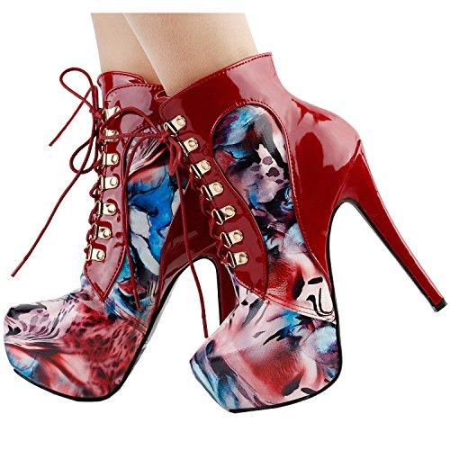 Show Story schwarz/Violett Lace Up Stiletto Heel Gothic Ankle Bootie Pump,LF80831 Rot