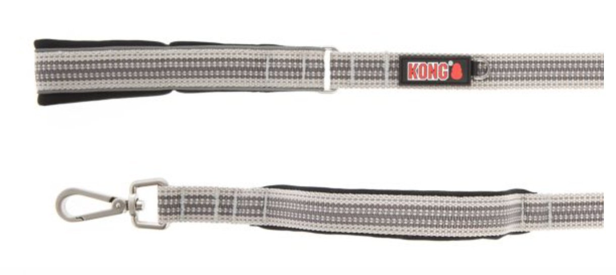 KONG offered by Barker Brands Inc. Reflective Traffic Handle Leash 4' (Grey)