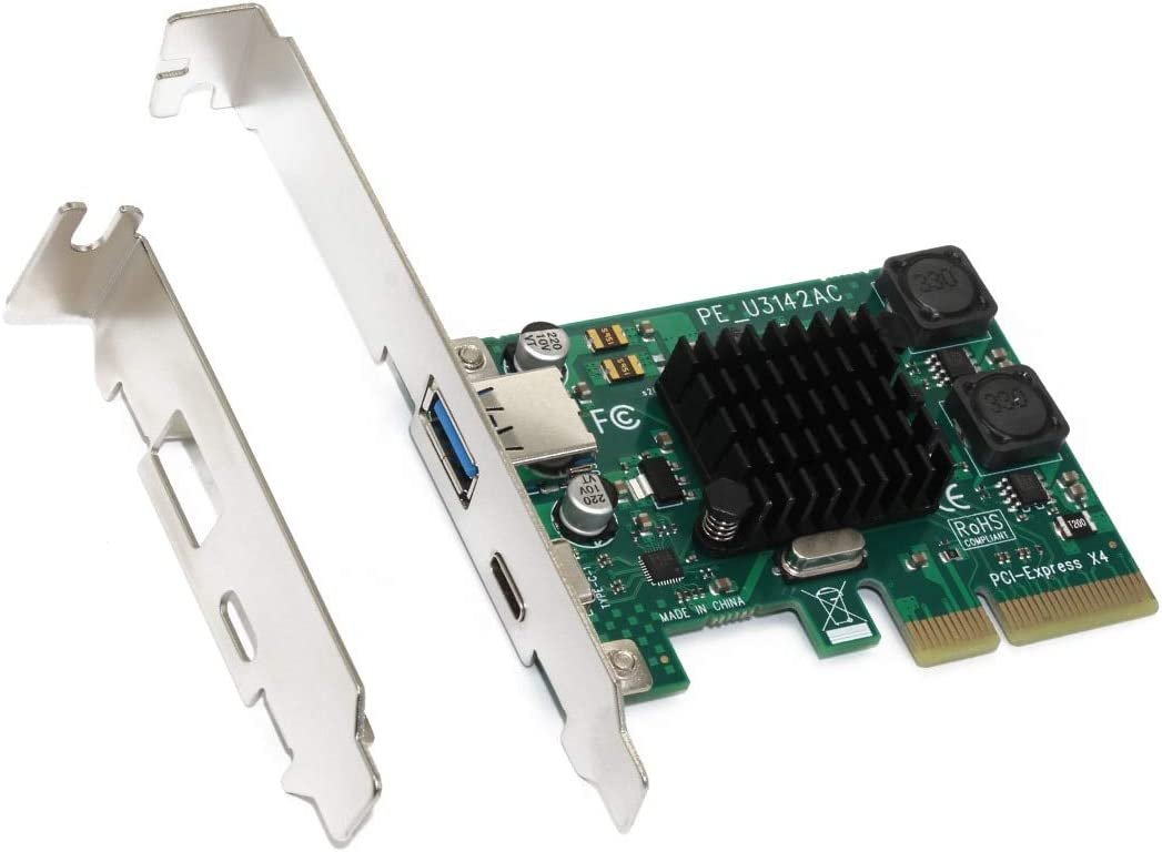 JMT Add on Cards PCI-E to USB3.1 Gen-11 10Gbps Type-A Type-c Dual-Port Expansion Card Desktop PC Motherboard PCIE 4X USB 3.1 Type C Riser Adapter