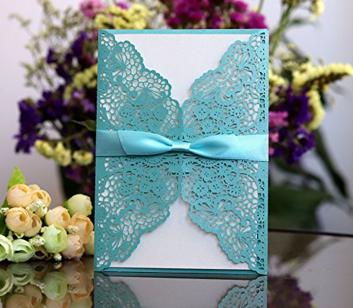 Better-way 100pcs Laser Cut Wedding Invitations with Lace and Hollow Out Design, Invitations Card with Ribbon for Wedding Baby Shower Engagement Birthday Party (Tiffany Blue)]()