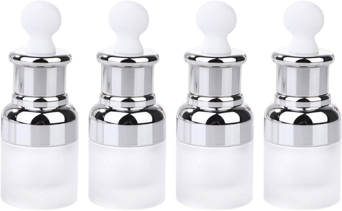 Minkissy Botellas Cuentagotas de Plástico Transparente Esmeriladas de 4 Piezas con Goteros Exprimidores de Hongos Contenedores de Maquillaje Recargables para Perfume de Aceite Esencial 30 Ml