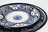 Set of 6 Hand Painted Blue Moroccan Ceramic Plates