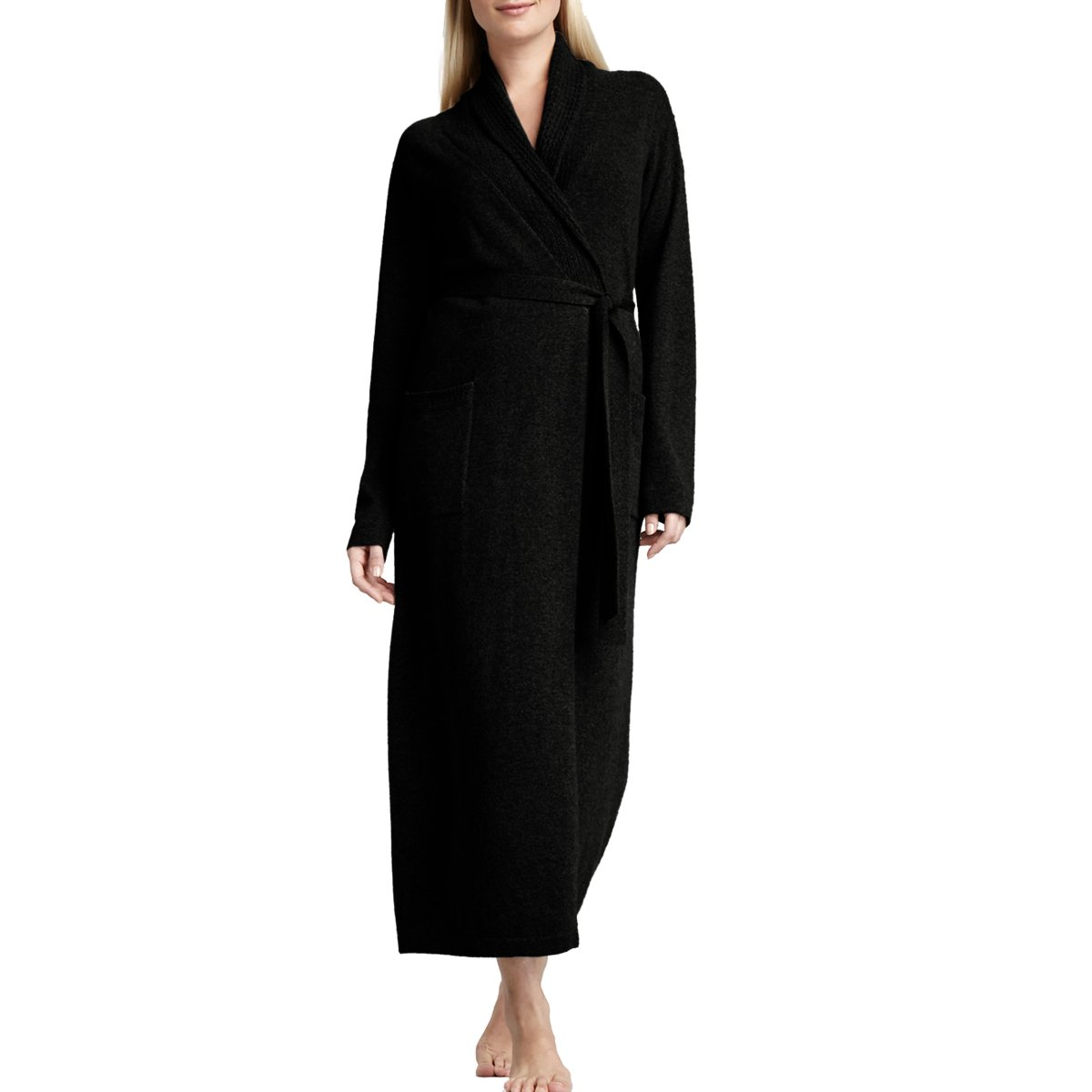 Parisbonbon Women's 100% Cashmere Shawl Collar Bathrobes Color Black Size L by Parisbonbon