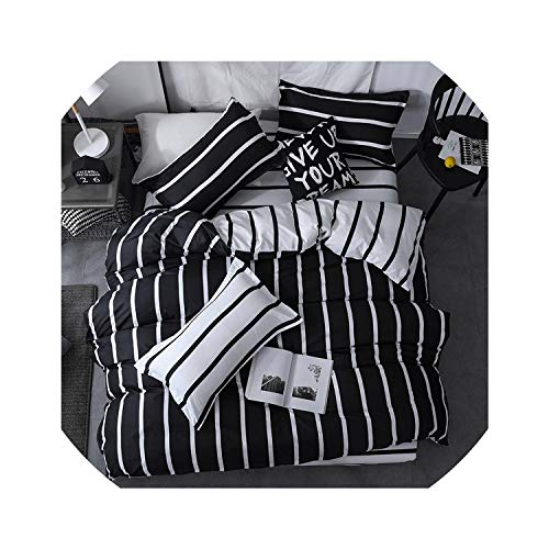 (Bedspreads Black and White Color Striped Bed Cover Sets Single/Twin/Double/Queen/King Quilt Cover Bed Sheet Pillowcase Bedding Kit,Jyrs,King 4Pcs,Flat Bed)