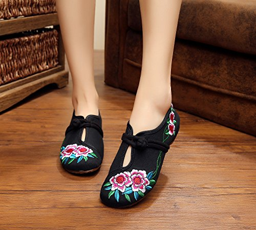 estilo de tela c¨®modo aumento femenina ¨¦tnico xiuhuaxie GuiXinWeiHeng lenguado Zapatos zapatos moda casual bordados black tend¨®n del del dentro YnvSgzwxSA