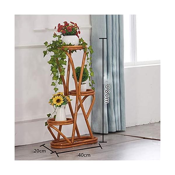 Cxraiy-HO Supporto per Fiori Balcone a Tre Piani Piano Pot Rack Rattan Flower Stand Outdoor Living Room Impianto di… 3 spesavip