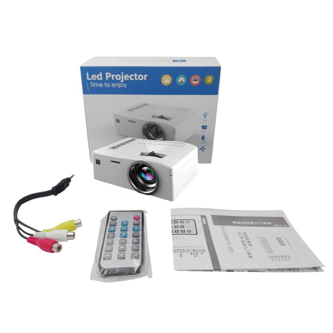 Proyecto HDMI VGA HD Mini proyector de vídeo UC18 1080P HD VGA LED LCD Multimedia Home Entertainment Teatro Cine Asidero USB TV 40cccd