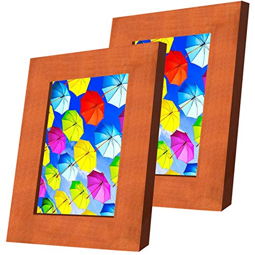 SpoiledHippo 5x7 Picture Frame Brown (2 Pack) - Wood Photo Frames with Glass Cover - Made to Display 5 by 7 Inch Photos w/o Mat or 4x6 and 3x5 with Mats - Hanging or Standing Vertical or Horizontal -
