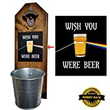 Wish You Were Beer - Pink Floyd Inspired - Bottle Opener and Cap Catcher - Handcrafted by a Vet - Solid Pine - Rustic Cast Iron Bottle Opener and Sturdy Mini Galvanized Bucket - Great Dad Gift!