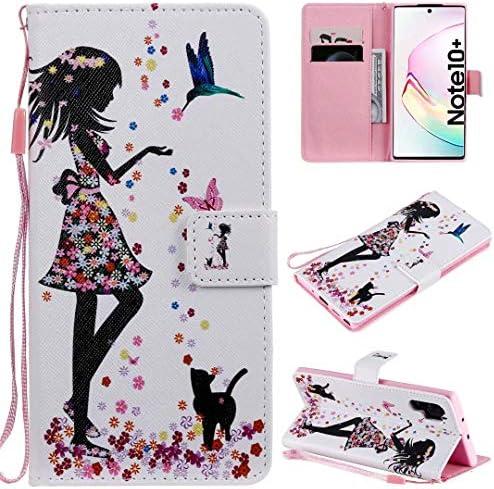 Miagon Flip PU Leder Schutzhülle für Samsung Galaxy Note 10 Plus,Bunt Muster Hülle Brieftasche Case Cover Ständer mit Kartenfächer Trageschlaufe,Mädchen Katze Blume