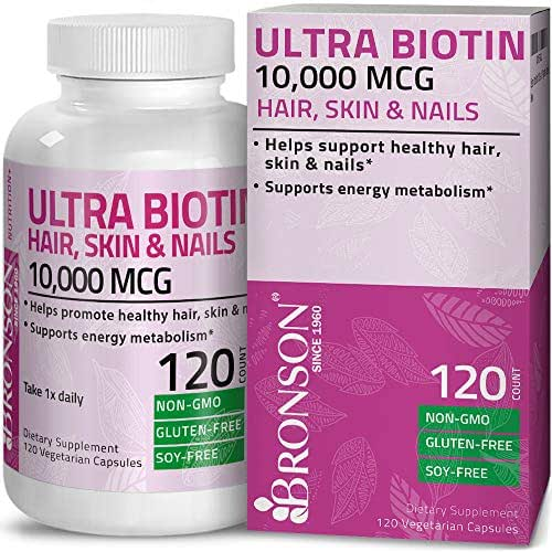Ultra Biotin 10,000 Mcg Hair Skin and Nails Supplement, Non-GMO, Gluten Free, Soy Free, 120 Vegetarian Capsules
