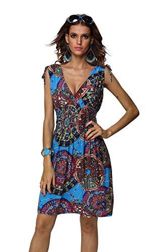 JINHUANSHOW Women's Spring Summer Casual Low-Cut V-Neck Prints Sundresses(Small, Meiblue-FBA) -