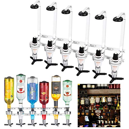 6 Bottles Shots Wall Mounted Wine Liquor Drinks Beer Dispenser Home Bar Butler