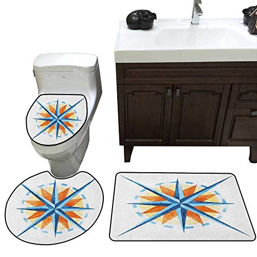 Moeeze-Home Compass Toilet Carpet Floor mat Watercolor Directions North South East West Windrose Pathfinding Work of Art Ultra Soft Microfiber Burnt Sienna Blue -