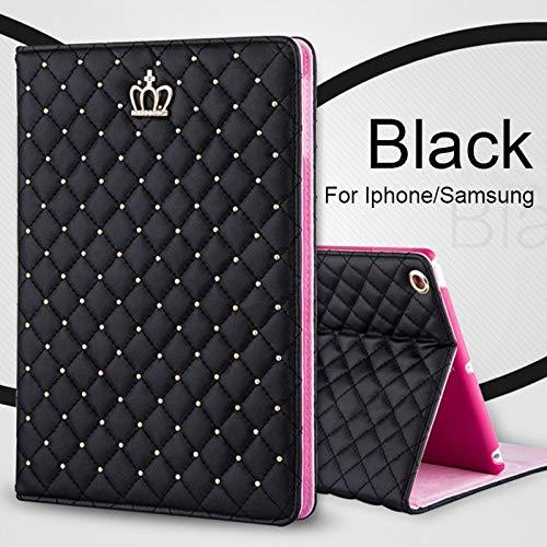 shoppingmal Luxury Glitter Crystal Rhinestone Small Crown Decal Diamond Pattern Stand Leather Case(Black,ipad pro 10.5)(Black,)
