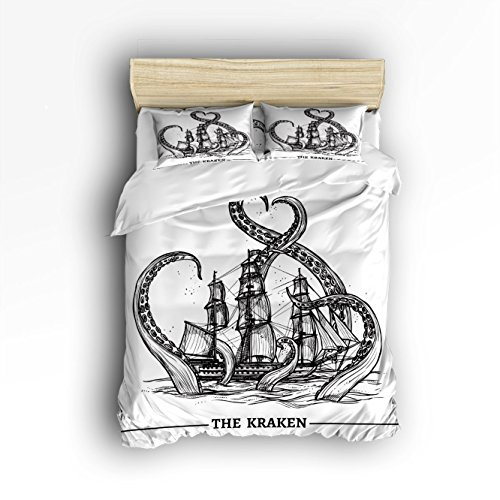 Pirate Ship Octopus Print Home Comforter Bedding Sets Duvet Cover Sets Bedspread for Adult Kids,Flat Sheet, Shams Set 4Pieces,4 Pcs Queen Size for Kids Teenage Teens - Full Size