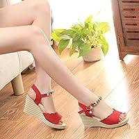 24394d3a987fe AIMTOPPY HOT Sale, Summer Wedges Sandals Shinestone Waterproof Platform  open Toe word Buckle women's Shoes (US:7.5, Red)