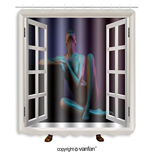 Vanfan designed Windows 371070596 fashion art photo of elegant nude model in the lig Shower Curtains,Waterproof Mildew-Resistant Fabric Shower Curtain For Bathroom Decoration Decor With Shower - Nude Swag Black