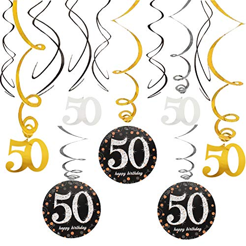 50th Happy Birthday Swirls Foil Gold Black Silver Streamers Party Hanging Decoration Cheers to 50 Years Old Bday Anniversary - 40'' x 12 -