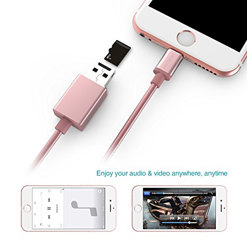 best sneakers 2ea76 1e13b dodocool Card Reader Lightning Cable with Micro SD Card Slot for ...