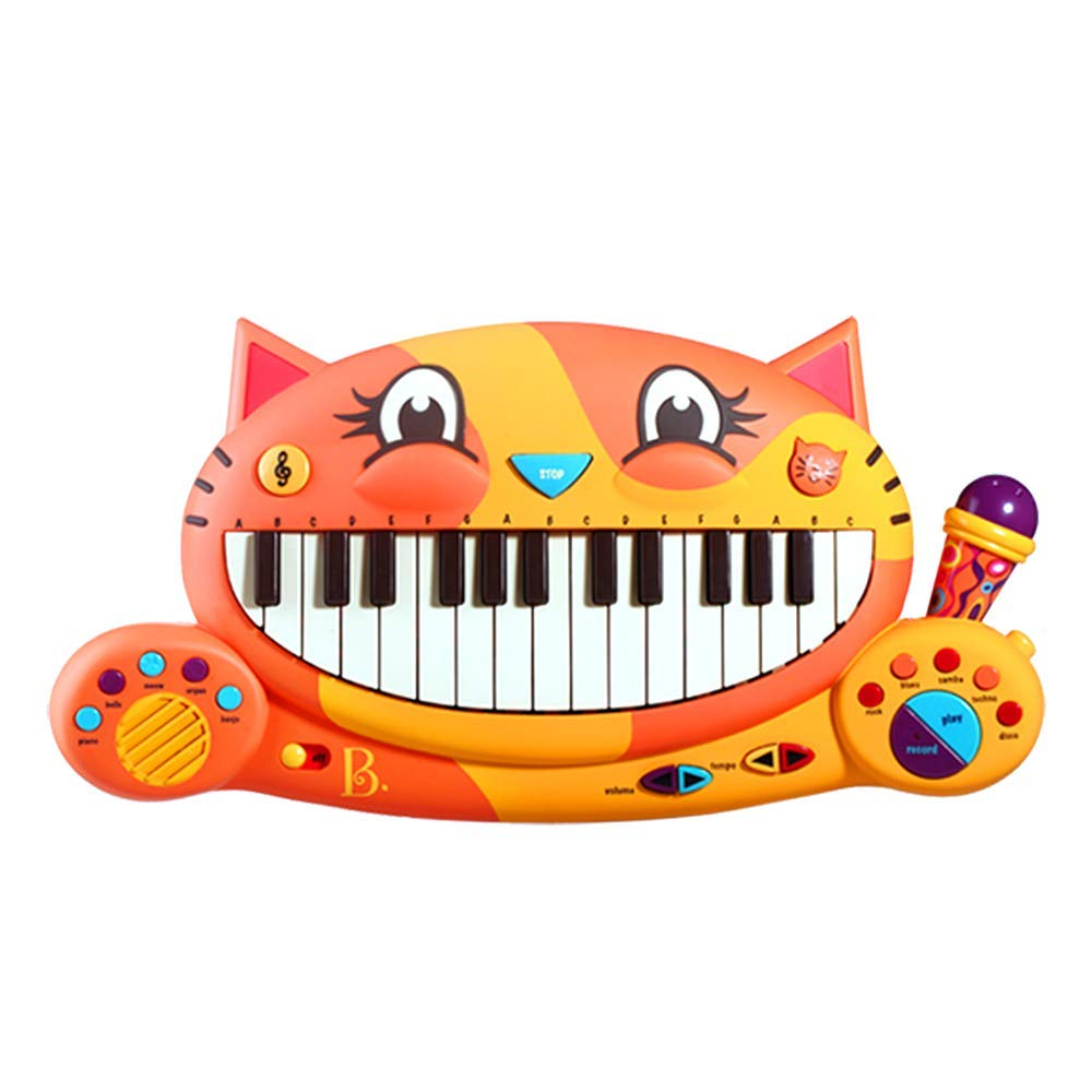 B Toys - Meowsic Toy Piano - Children'S Keyboard Cat Piano with Toy Microphone For Kids 2 years + by B. toys by Battat