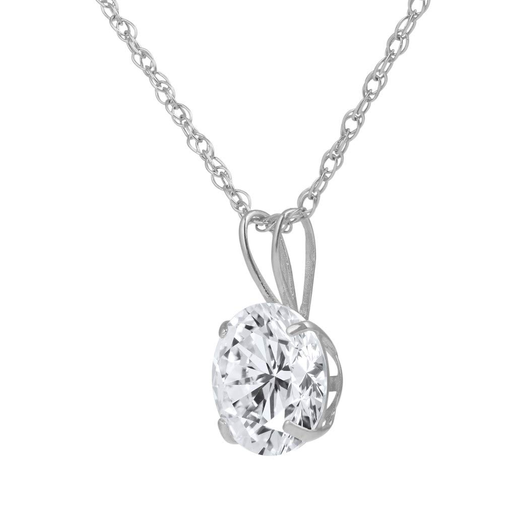 Rose /& White Gold with an 16 to 18 inch Adjustable Chain SOLIDGOLD 14K Gold Crystal Clear Round CZ Solitaire Pendant In Real Yellow