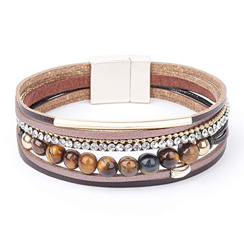88126dd861 Womens Leather Cuff Bracelet - Braided Wrap Bangle Handmade Multi Layer  Jewelry with Alloy Magnetic Clasp - Bohemian Style