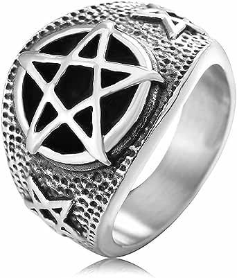 JAJAFOOK Punk Retro Men's Inverted Evil Pentathlon Satanic Stainless Titanium Steel Rings