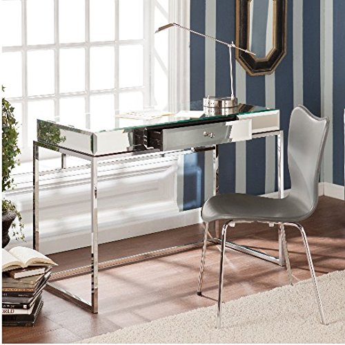 Upton Home Adelie Contemporary Mirrored Writing Desk With Drawer