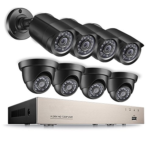 [Upgrade] 720P HD-TVI Household Security Camera System, 8 Channel Security DVR Record and (8) 1280TVL 1.0MP HD Outdoor/Indoor Day and Night CCTV Bullet/Dome Security Camera by Anlapus