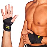 Adjustable Wrist Brace Support Recovery Neoprene One Size Fits Most, #1 Compression Sleeve - GUARANTEED Recovery from Pain, Sprains, Carpal Tunnel, Bursitis, Tendonitis, Arthritis - Single