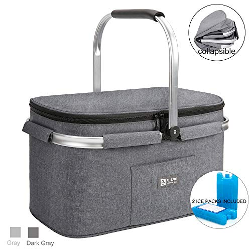 ALLCAMP Lightweight Picnic Basket Insulated Cooler Bags for 4 Person 32L Large Family Size with 2 Ice Packs Charcoal Gray