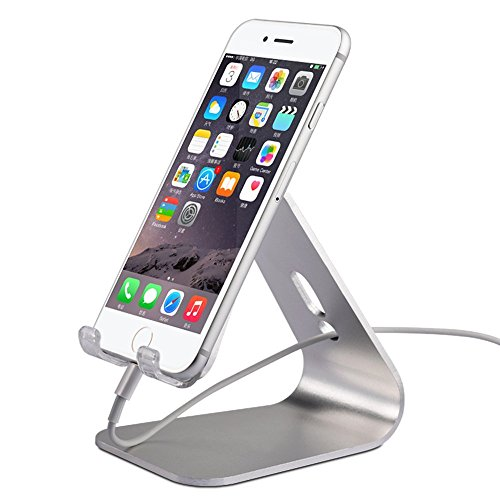 Iphone Desktop Stand,KINGWorld Portable Universal Solid Aluminum  Micro Suction Holder Cradle For E Readers And Smartphones,Compatible With  ...