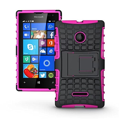 Price comparison product image Microsoft Lumia 532 Case, Lumia 532 Cover, Dual Layer Protection Shockproof Impact Resistant Hybrid Rugged Case Hard Shell Cover with Kickstand for Microsoft Lumia 532 (Hot Pink)
