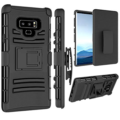 Jeylly Kickstand Case for Galaxy Note 9, Full Body with Holster Clip Heavy Duty Protection Shockproof Rugged Cover for Samsung Galaxy Note 9 (2018) 6.4 Inch - Black (Phone Case Note 3 With Clip)