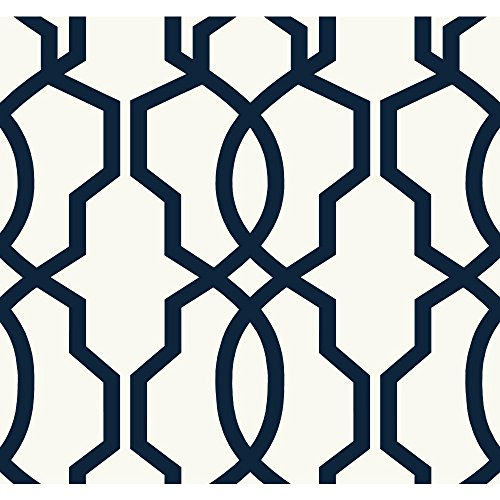 York Wallcoverings GE3664 Ashford Geometrics Hourglass Trellis Wallpaper, Navy Blue/White