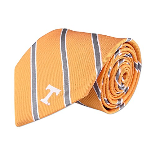 (NCAA Tennessee Volunteers Mens Woven Silk Thin Stripe Collegiate Logo Tie 2, Orange, One Size)