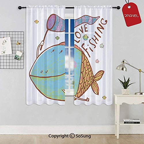 Kids Cute Large Fat Fish Holding a Flag with Love Quote Humor Fun Nursery Theme Rod Pocket Sheer Voile Window Curtain Panels for Kids Room,Kitchen,Living Room & Bedroom,2 Panels,Each 42x72 Inch,Multi (Indian Summer Panel Curtain)