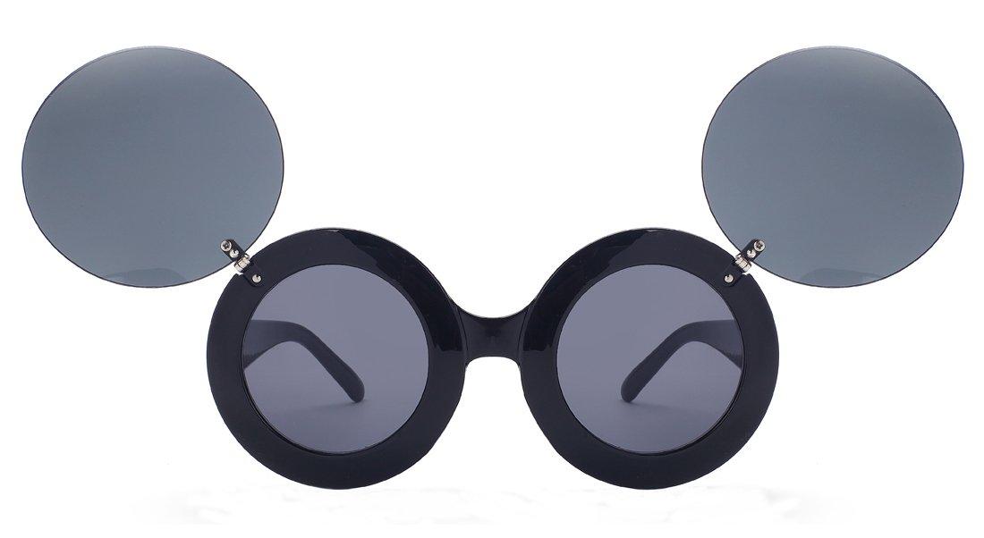 Laura Fairy Girls'/ladies' Double Flip Cute Style Brand Designer Round Sunglasses (black)