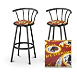 2 Washington Red Skins NFL Football Themed Specialty / Custom Black Barstools...