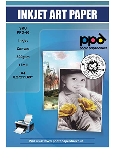 PPD Inkjet Canvas 100% Real Printable Cotton 8.5x11'' 90lbs. 320gsm 17mil x 10 Sheets (PPD060-10)