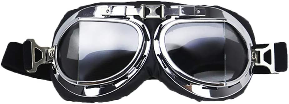 Motorcycle Goggles PU Leather Clear Lens For Harley Vintage Retro Style Helmet
