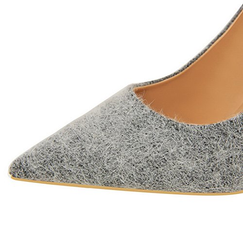 Pointed Gray High Suede Pumps Imitated Toe Shoes Pull Womens AmoonyFashion On Heels UOPqwWPa5