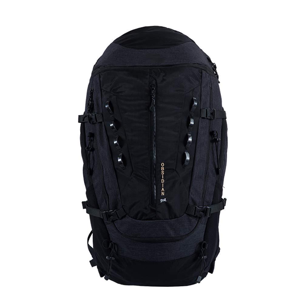 ハイキングバックパック50 L、男性用女性用リュックサック、引き裂きおよび防水、キャンプ用トレッキング、登山旅行、アウトドアスポーツ、レインカバー  Black B07RJG4STG