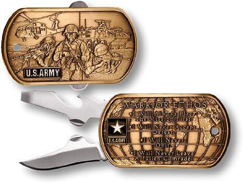 US Army Warrior Ethos Dog Tag Pocket Knife